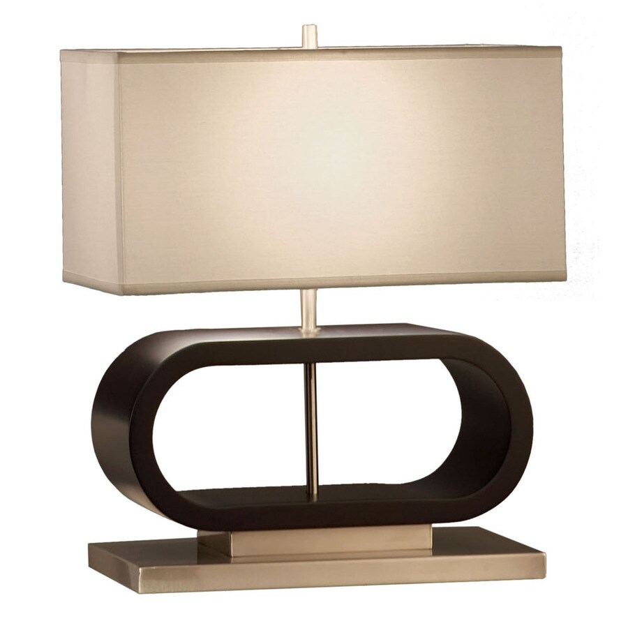 Nova Lighting 20-in Dark Brown Wood and Brushed Nickel Standard 3-Way Switch Table Lamp with Fabric Shade