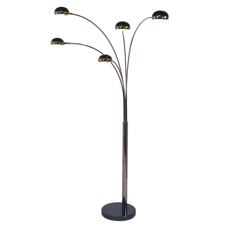Nova Lighting 87-in Black Nickel and Black Marble Base Contemporary/Modern Multi-Head Indoor Floor Lamp with Metal Shade