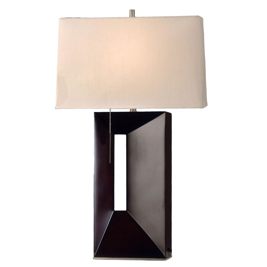 Nova Lighting 30-in Dark Brown Wood and Brushed Nickel Standard Table Lamp with Fabric Shade