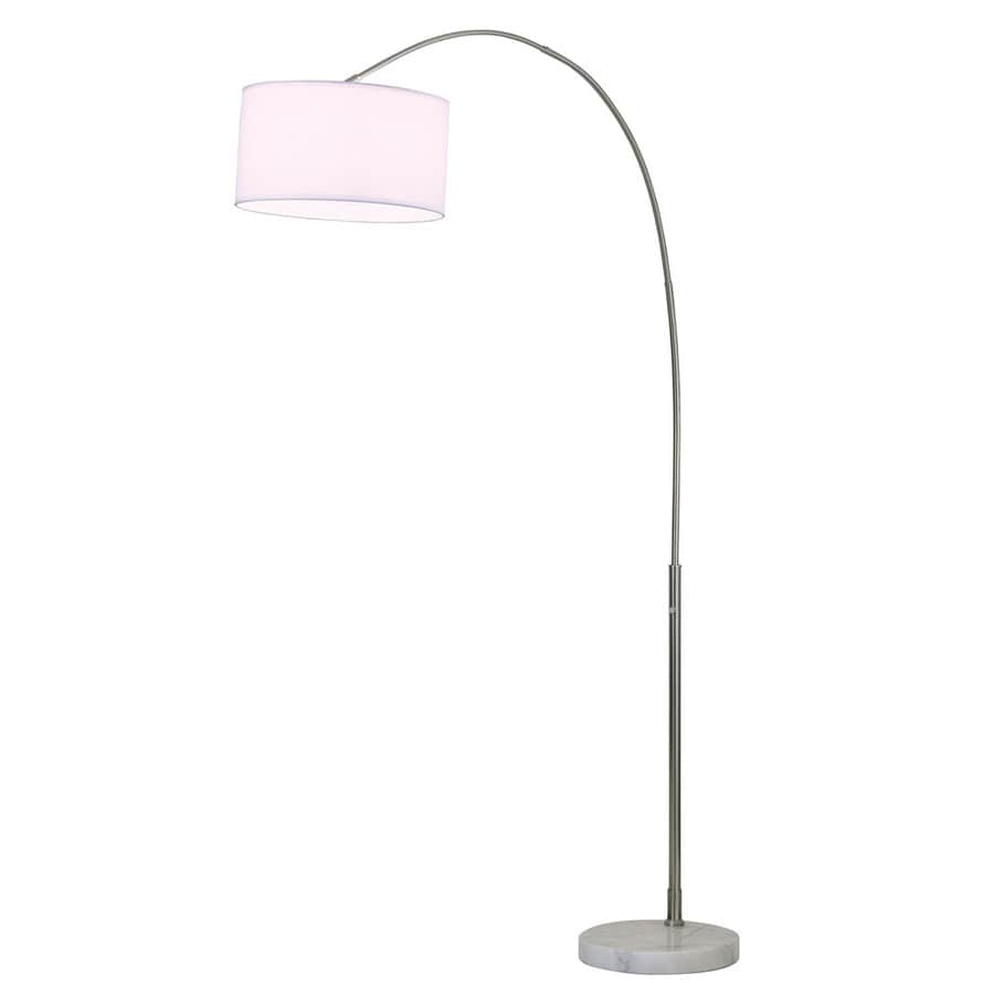 Nova Lighting 87-in Brushed Nickel and White Marble Base Floor Lamp with Fabric Shade