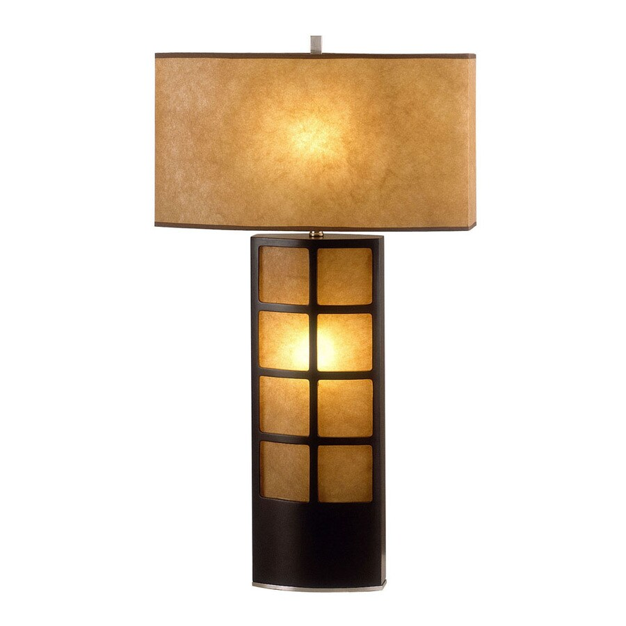 Nova Lighting 30-in Dark Brown Wood, Brushed Nickel and Elephantine Parchment Standard Table Lamp with Paper Shade