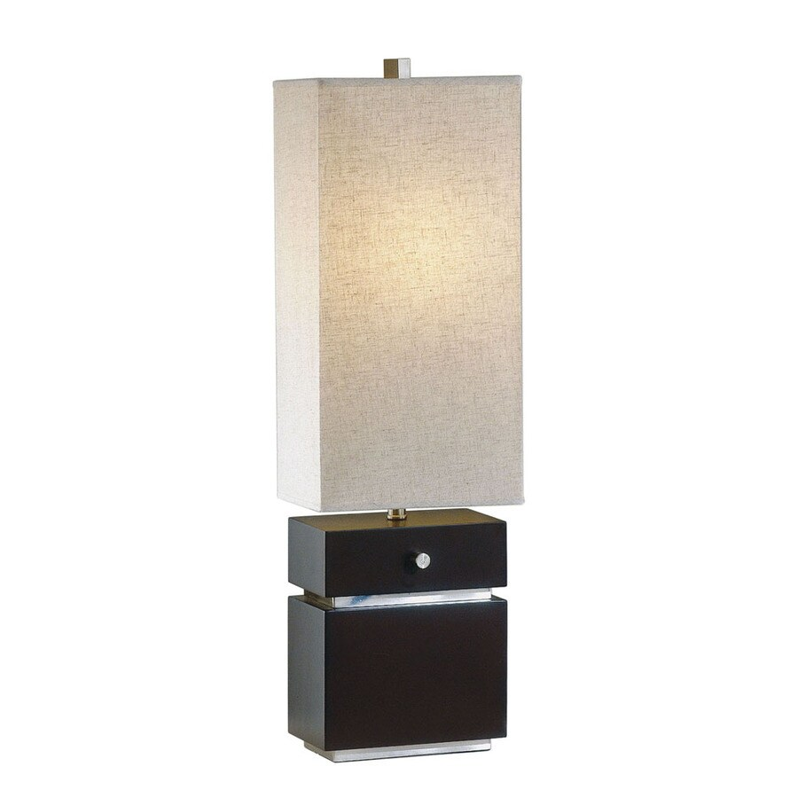 Nova Lighting 28-in Dark Brown Wood and Brushed Nickel Indoor Table Lamp with Fabric Shade