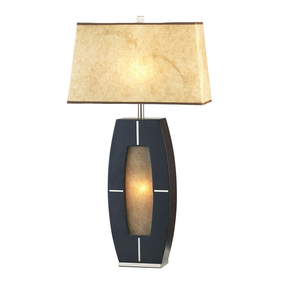 Nova Lighting 30-in Dark Brown Wood, Brushed Nickel and Elephantine Parchment Indoor Table Lamp with Paper Shade