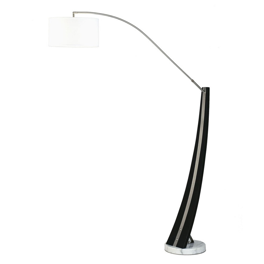 Nova Lighting 87-in Dark Brown Wood Brushed Nickel and White Marble Base Floor Lamp with Fabric Shade
