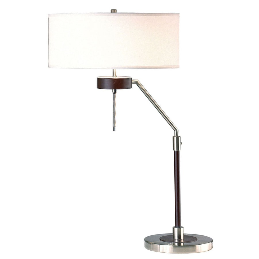 Nova Lighting 29-in Dark Brown Wood and Brushed Nickel Indoor Table Lamp with Fabric Shade