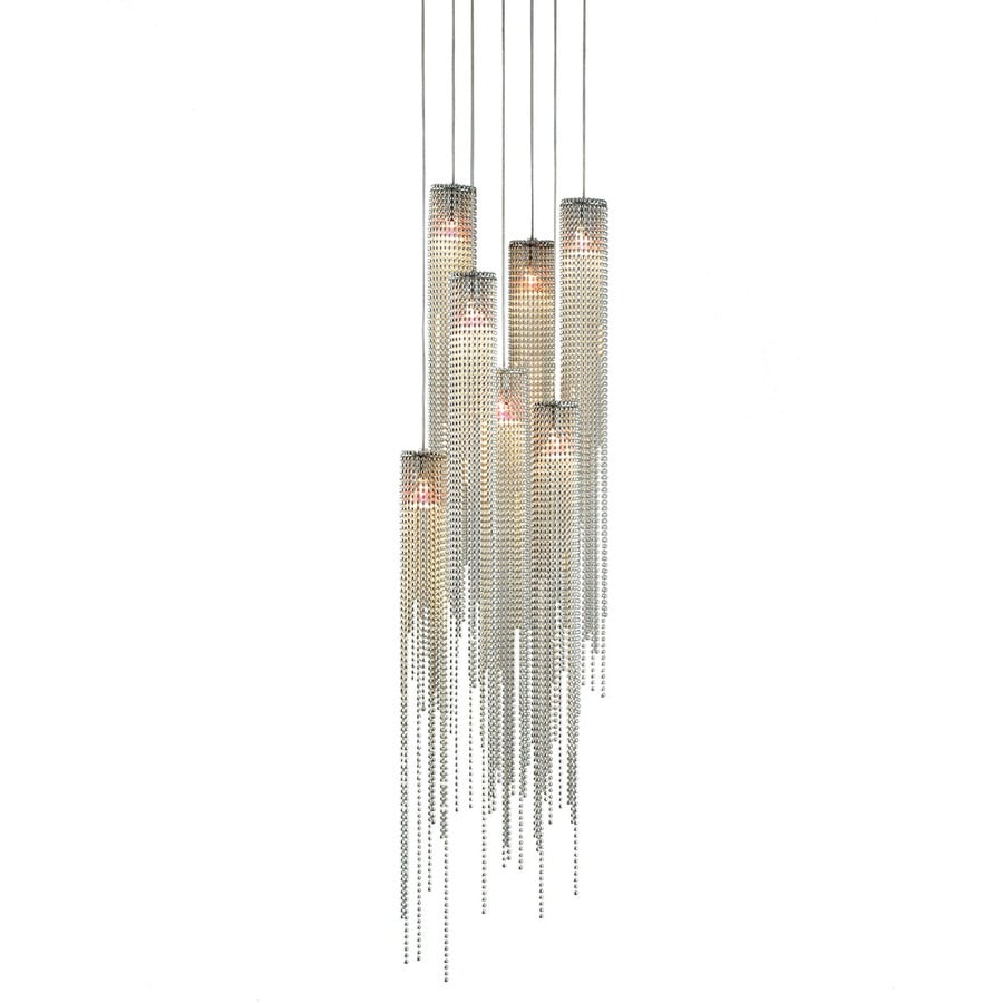 Nova Lighting Bead 10-in Brushed Nickel Single Textured Glass Pendant