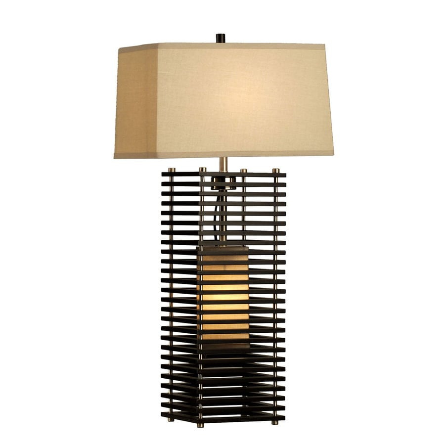 Shop nova lighting 27 in dark brown wood and brushed for Brown table lamp shades
