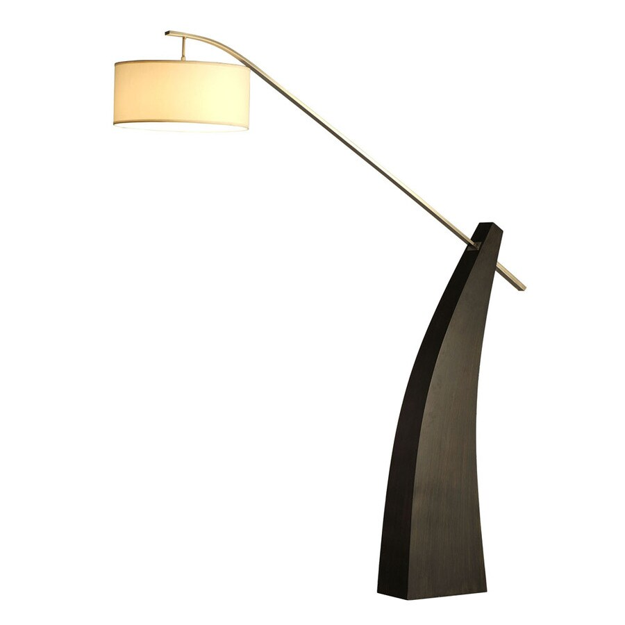Nova Lighting 88-in Pecan Wood and Brushed Nickel Contemporary/Modern Shaded Floor Lamp Indoor Floor Lamp with Fabric Shade