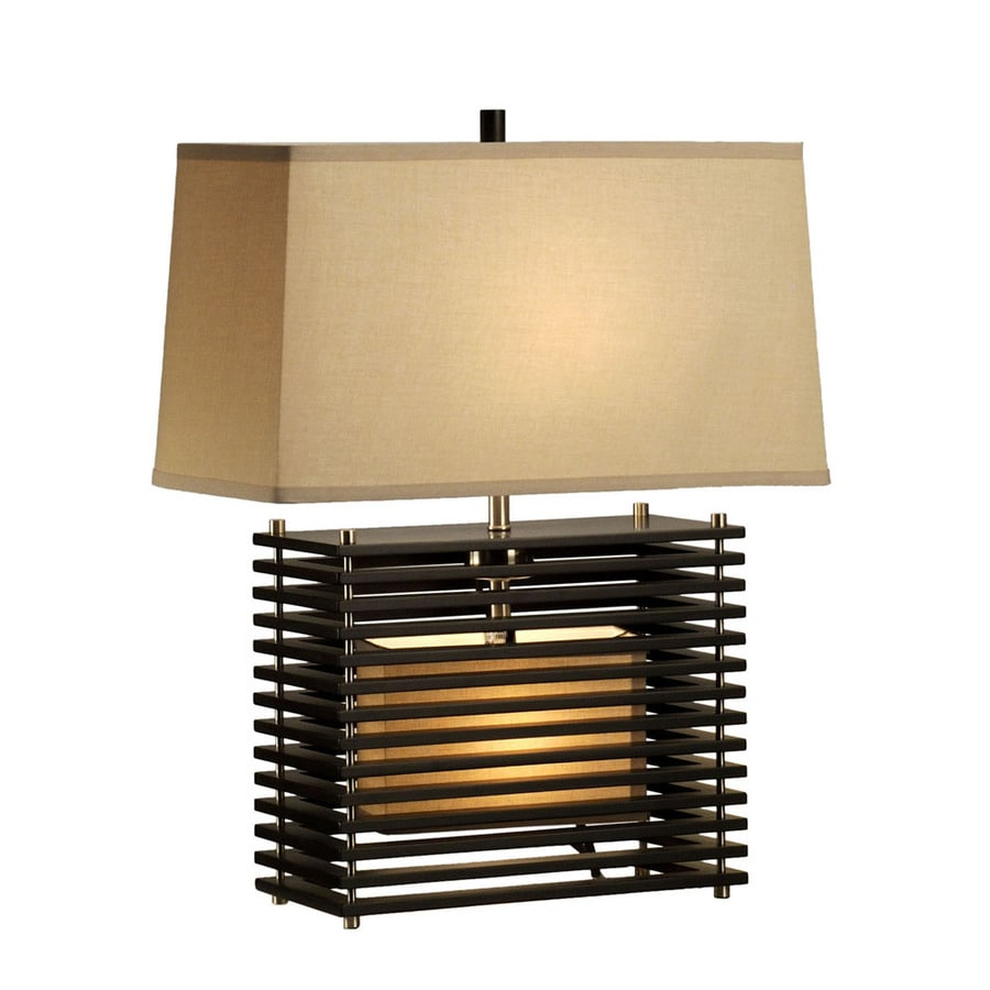 Nova Lighting 22-in Dark Brown Wood and Brushed Nickel Indoor Table Lamp with Fabric Shade