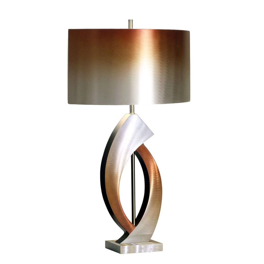 Nova Lighting 30-in 3-Way Brushed Aluminum, Rust and Bronze Indoor Table Lamp with Metal Shade
