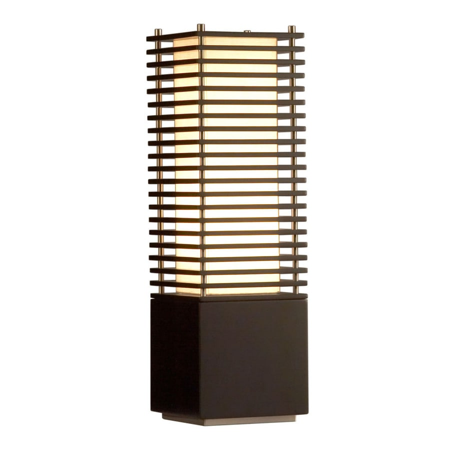 Nova Lighting 26-in Dark Brown Wood and Brushed Nickel Indoor Table Lamp with Fabric Shade