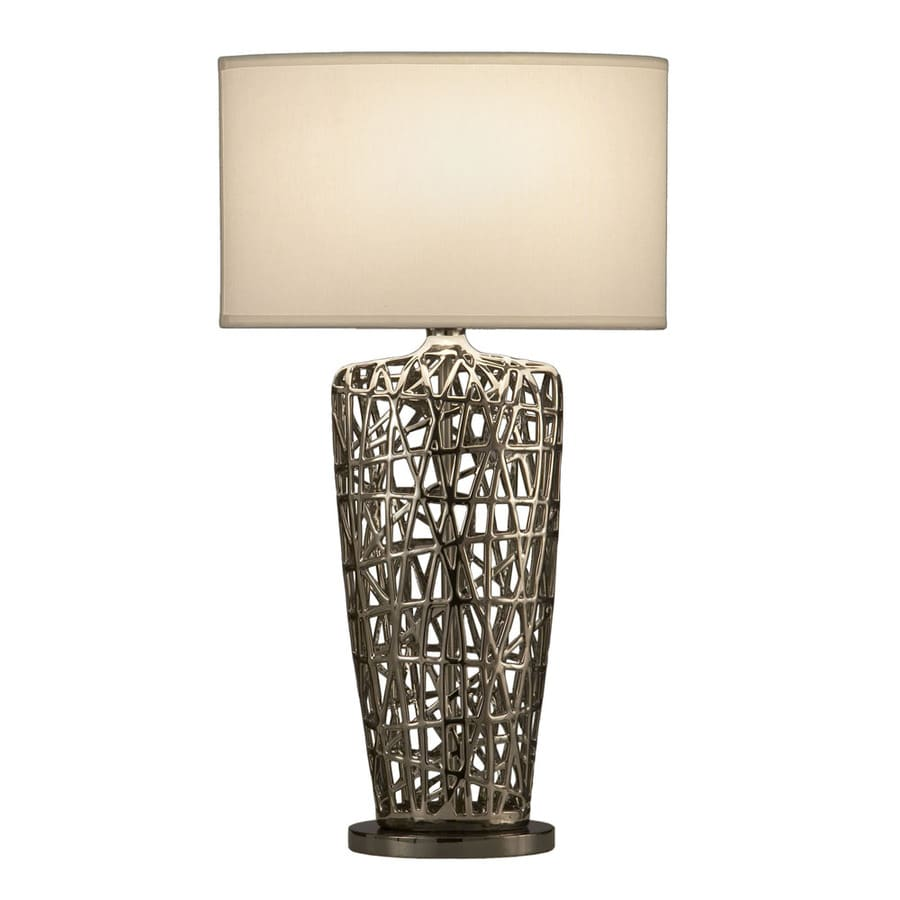 Nova Lighting 30-in Chrome Standard 3-Way Switch Table Lamp with Fabric Shade