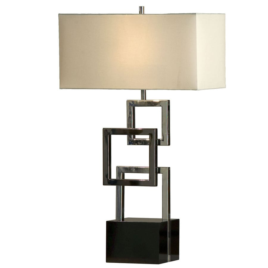 Nova Lighting 30-in Gloss Black Wood, Chrome and Black Nickel Standard 3-Way Switch Table Lamp with Fabric Shade