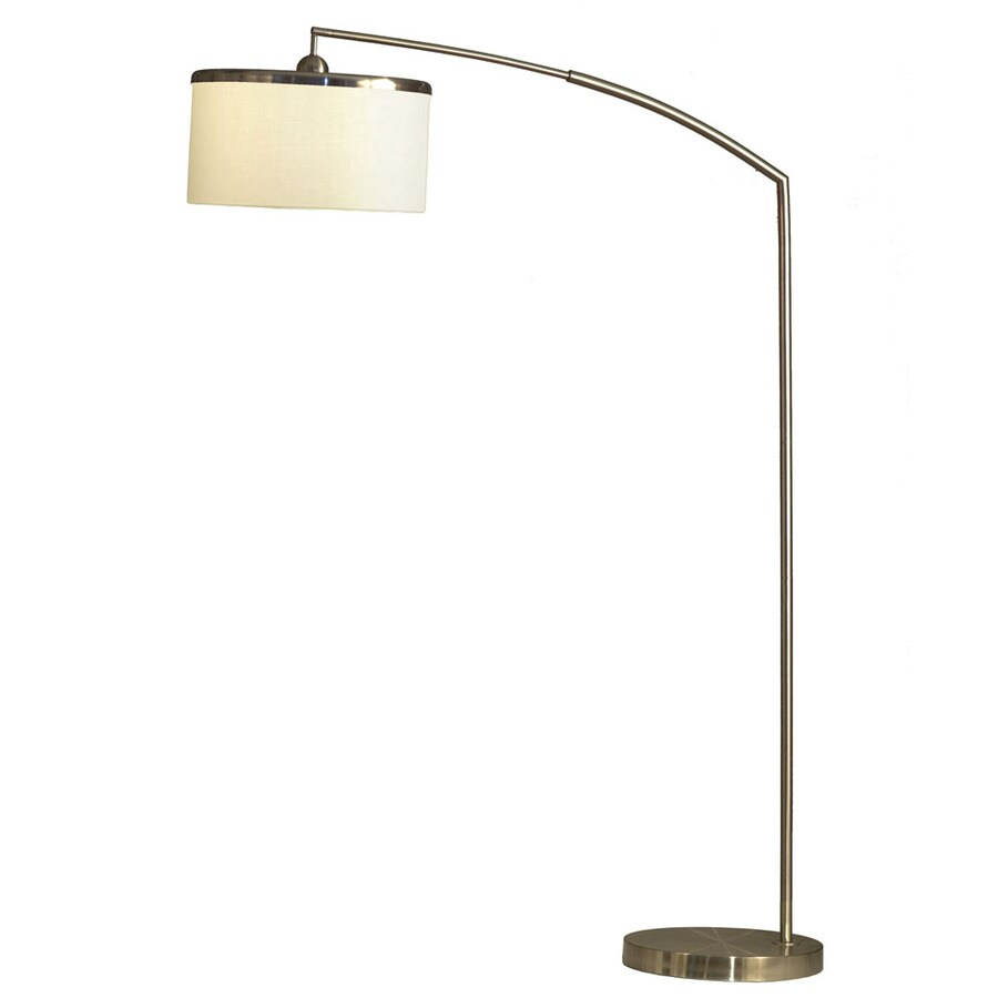 Nova Lighting 82-in Brushed Nickel and White Marble Base Indoor Floor Lamp with Fabric Shade