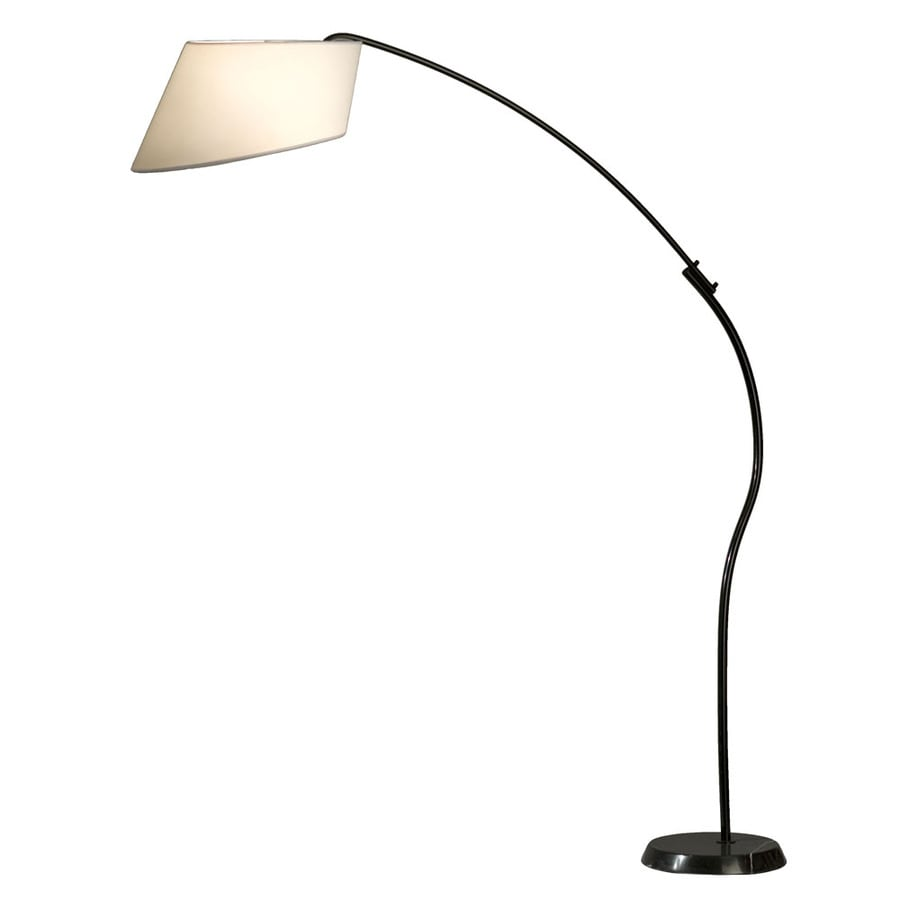 Nova Lighting 85-in Black and Black Marble Base Indoor Floor Lamp with Fabric Shade