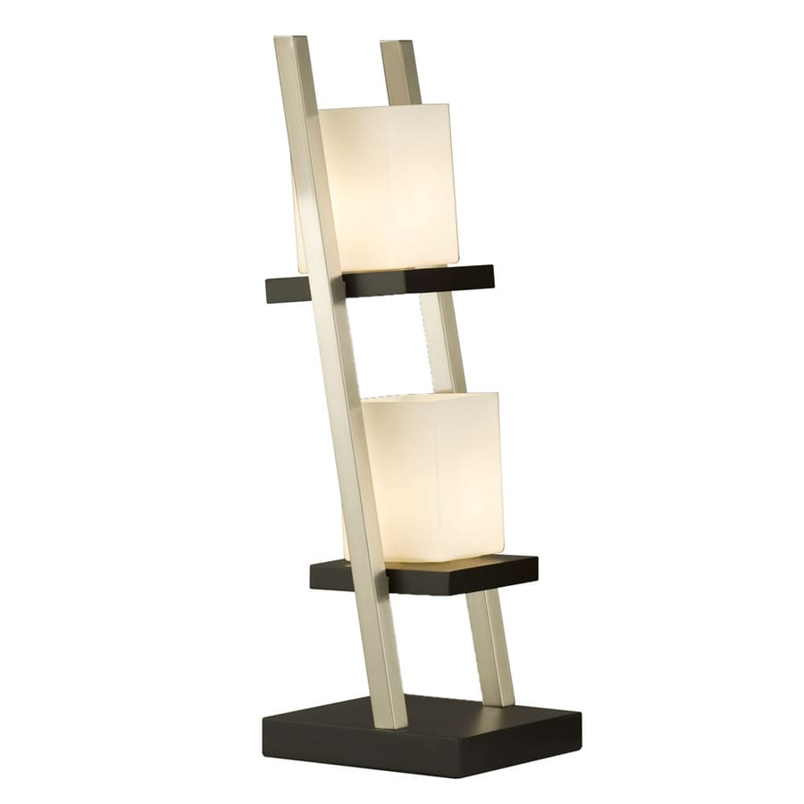 Nova Lighting 29-in Dark Brown Wood, Brushed Nickel and White Glass Standard Table Lamp with Glass Shade