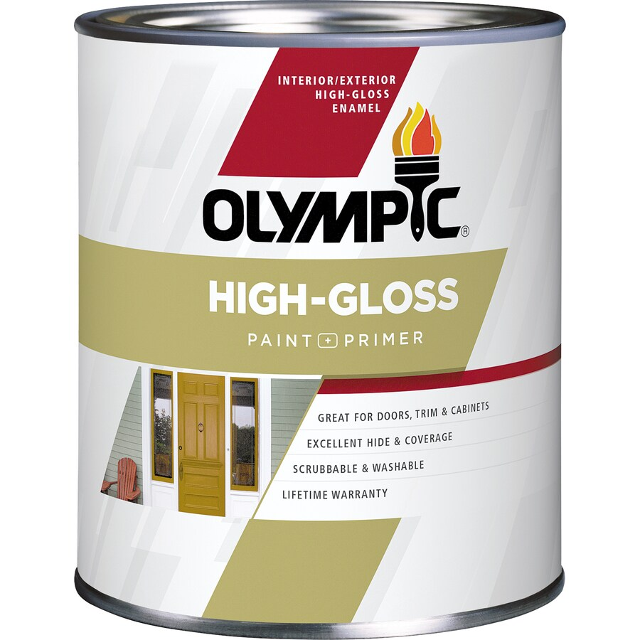 Olympic Base 5 High-gloss Acrylic Enamel Interior/Exterior Paint and Primer in One (Actual Net Contents: 28.5-fl oz)