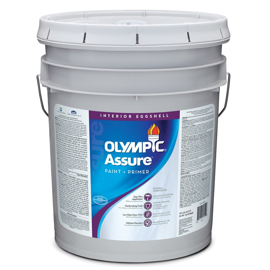Olympic Assure Base 1/Ultra White Eggshell Latex Interior Paint and Primer in One (Actual Net Contents: 619-fl oz)