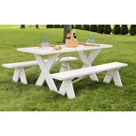 Duratrel 72 In White Rectangle Picnic Table