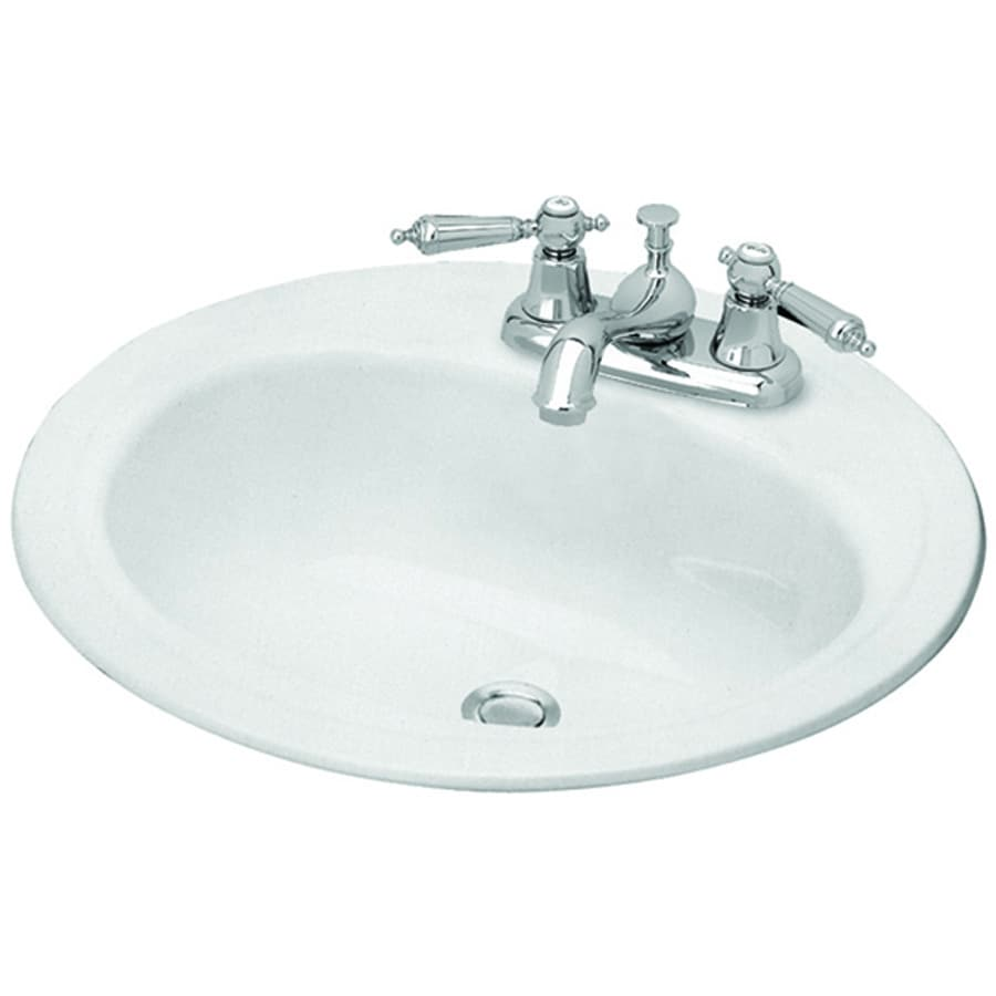 Briggs Homer White Enameled Steel Drop In Round Bathroom Sink With Overflow