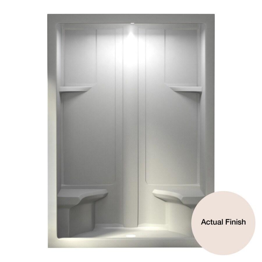 Aqua Glass 60-in H x 90-in W x 35-in L Biscuit 1-Piece Shower