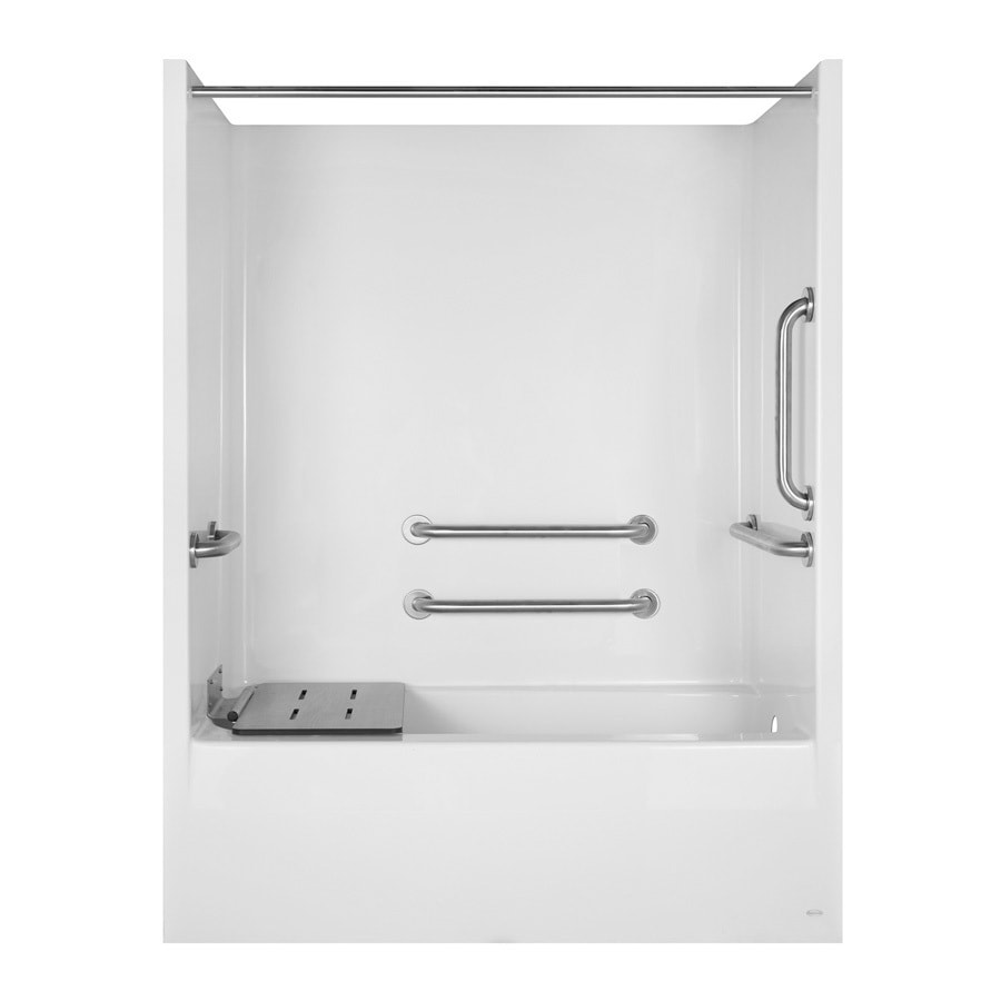 Aqua Glass 79-1/4-in H x 32-1/8-in W x 60-in L Special Care White 1-Piece Shower with Bathtub