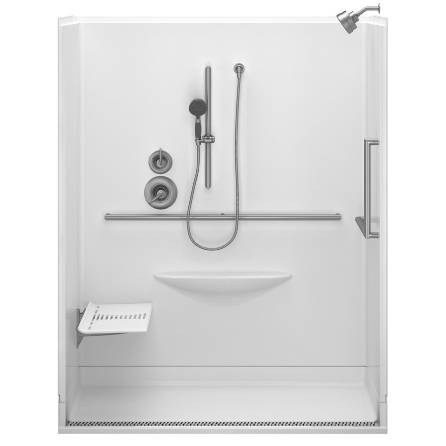 Shop Delta Bright White Acrylic One-Piece Shower with Integrated ...