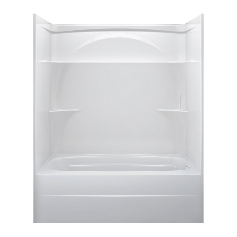 shop delta white acrylic one piece bathtub common 32 in