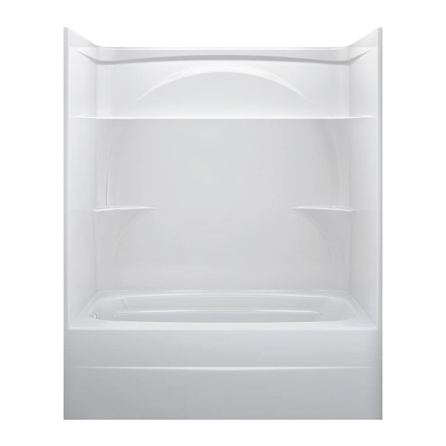 delta white acrylic onepiece shower with bathtub common 32in x - Delta Shower Doors