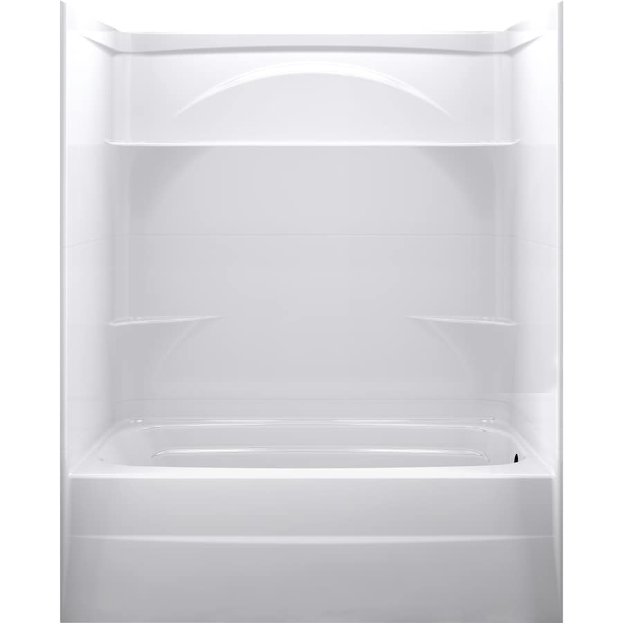 DELTA Styla High Gloss White Acrylic Wall And Floor 3 Piece Alcove Shower  Kit With