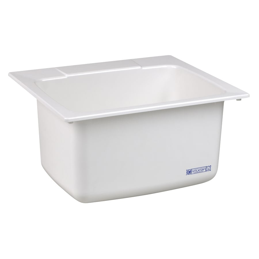 Mustee 25-in x 22-in 1-Basin White Self-rimming Composite Laundry Sink with Drain