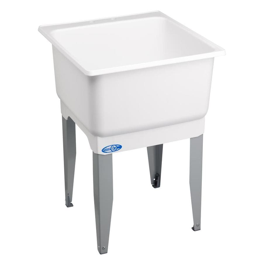 Mustee 23 In X 25 In White Freestanding Polypropylene Laundry Utility Sink  With Drain