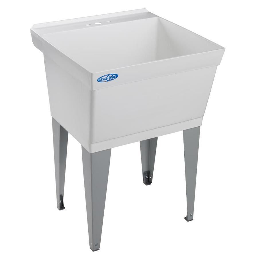 Mustee 23-in x 23.5-in 1-Basin White Freestanding Polypropylene Laundry Sink (Drain Included)