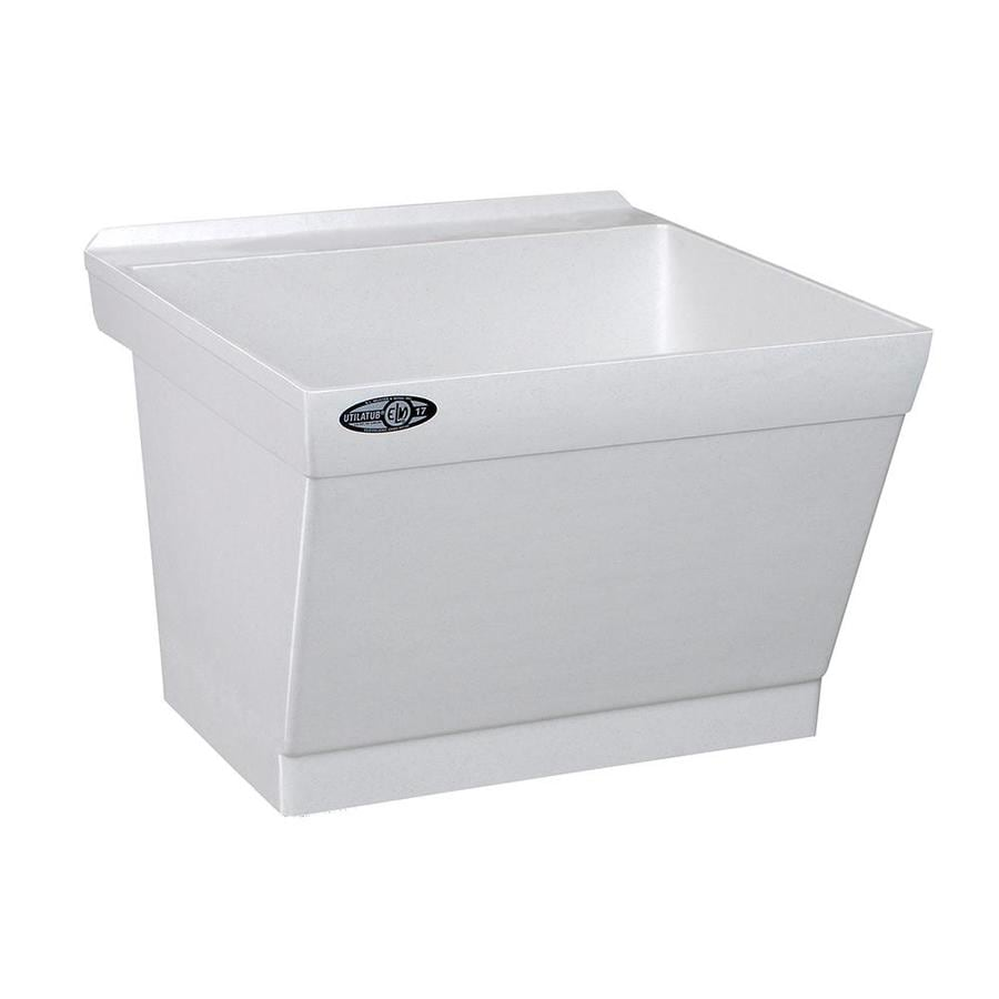 Mustee 23-in x 23.5-in 1-Basin White Wall Mount Composite Tub Utility Sink with Drain