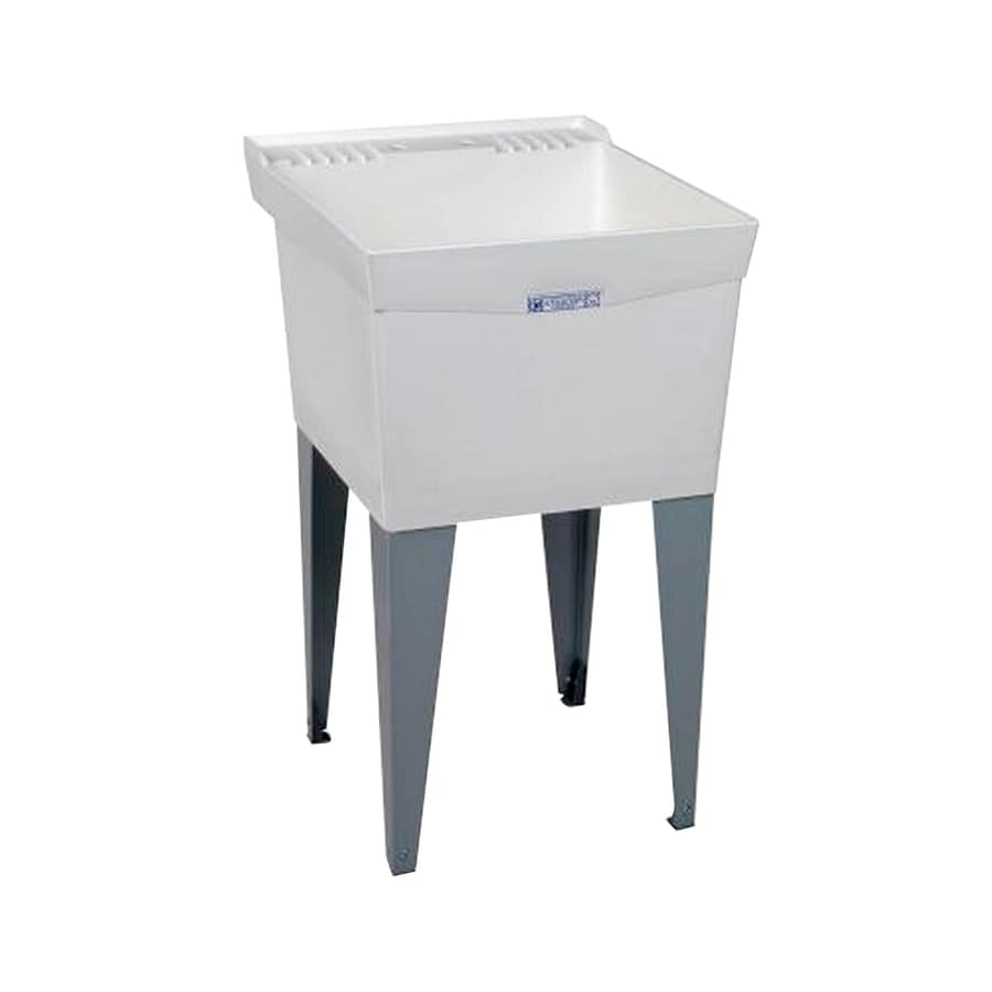 Composite Laundry Sink : ... 24-in 1-Basin White Freestanding Composite Tub Utility Sink with Drain