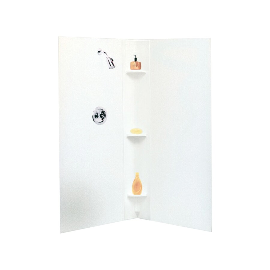 Mustee Durawall White Shower Wall Surround Corner Wall Kit (Common: 42-in x 42-in; Actual: 71.5-in x 42-in x 42-in)