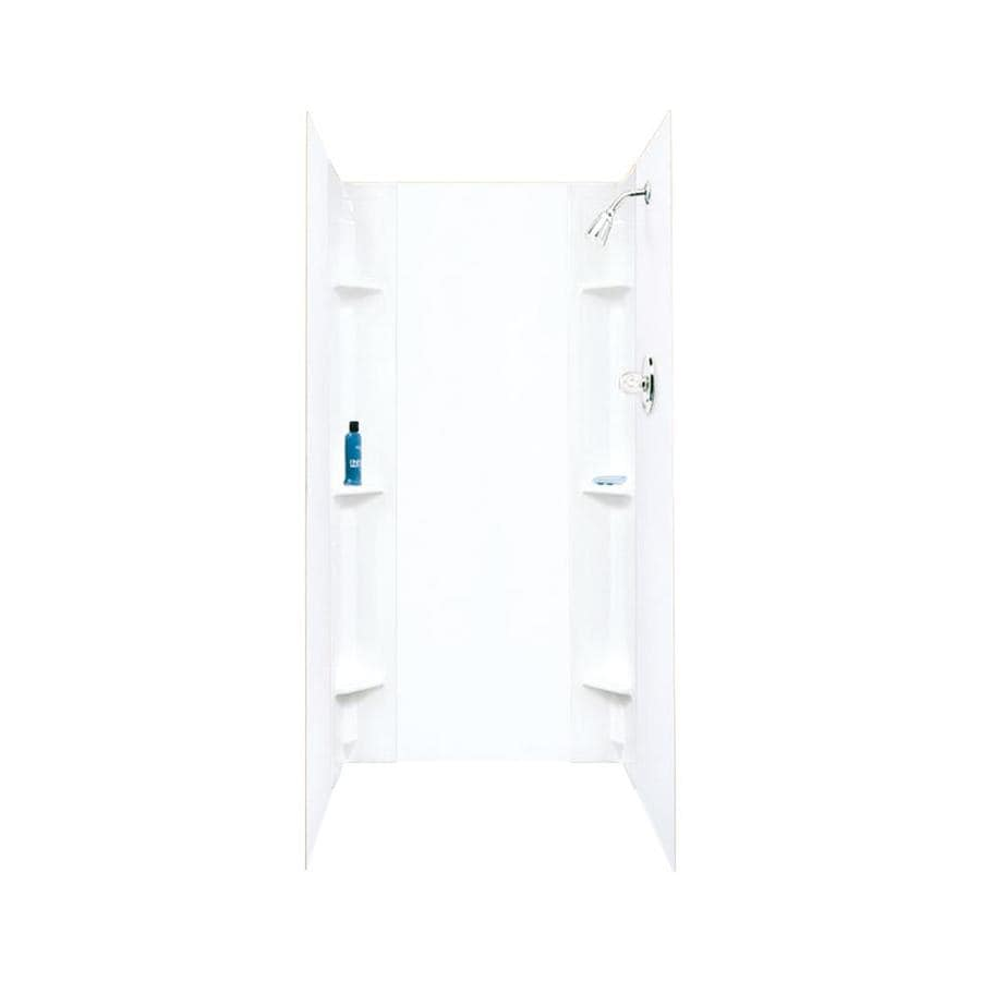 Mustee Durawall White Shower Wall Surround Side and Back Wall Kit (Common: 48-in x 42-in; Actual: 71.5-in x 48-in x 42-in)