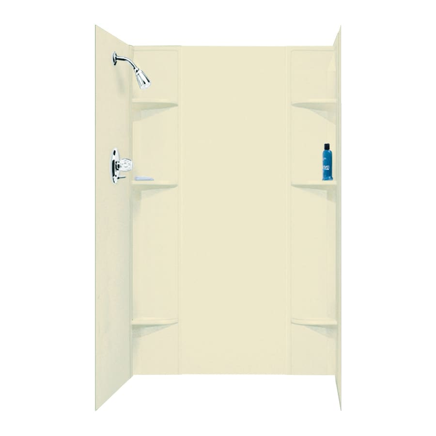 Mustee DURAWALL Bone Shower Wall Surround Side and Back Panels (Common: 60-in x 40-in; Actual: 71.5-in x 60-in x 40-in)