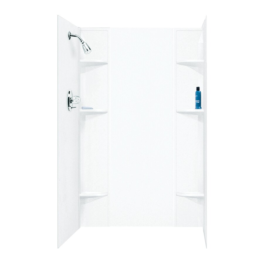 Mustee DURAWALL White Shower Wall Surround Side and Back Panels (Common: 60-in x 40-in; Actual: 71.5-in x 60-in x 40-in)