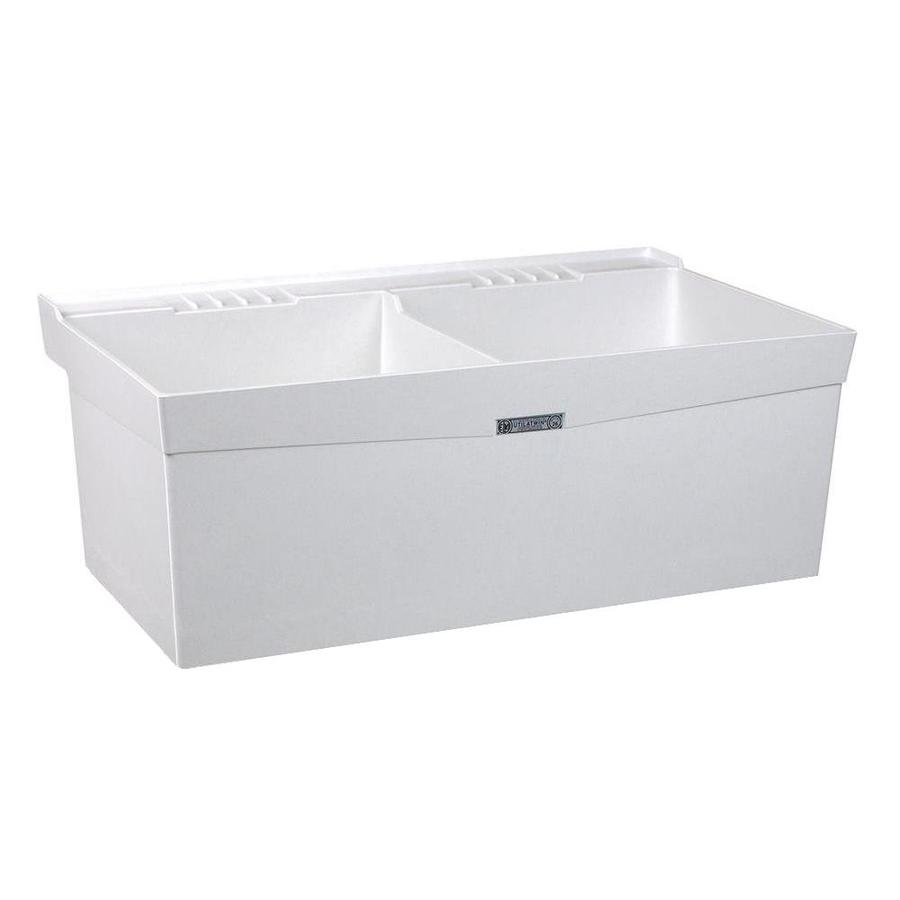 ... 24-in 2-Basin White Wall Mount Composite Tub Utility Sink with Drain