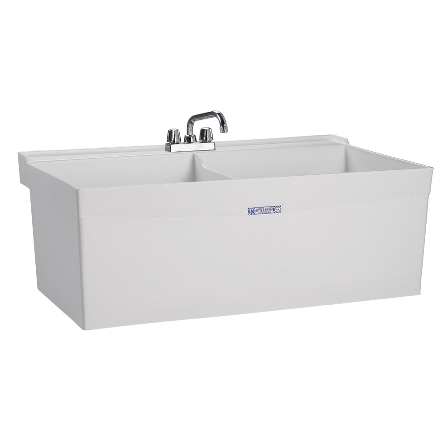 Mustee 40-in x 24-in 2-Basin White Wall Mount Composite Tub Utility Sink with Drain