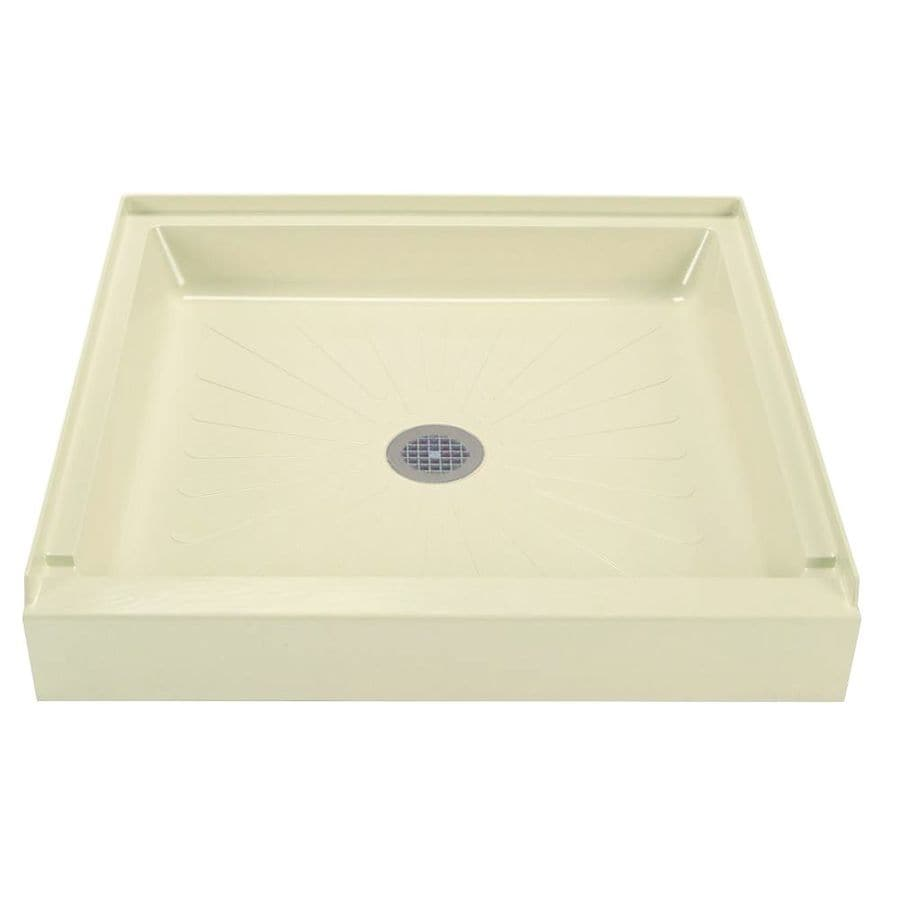 Mustee DURABASE Bone Fiberglass Shower Base (Common: 32-in W x 32-in L; Actual: 32-in W x 32-in L)