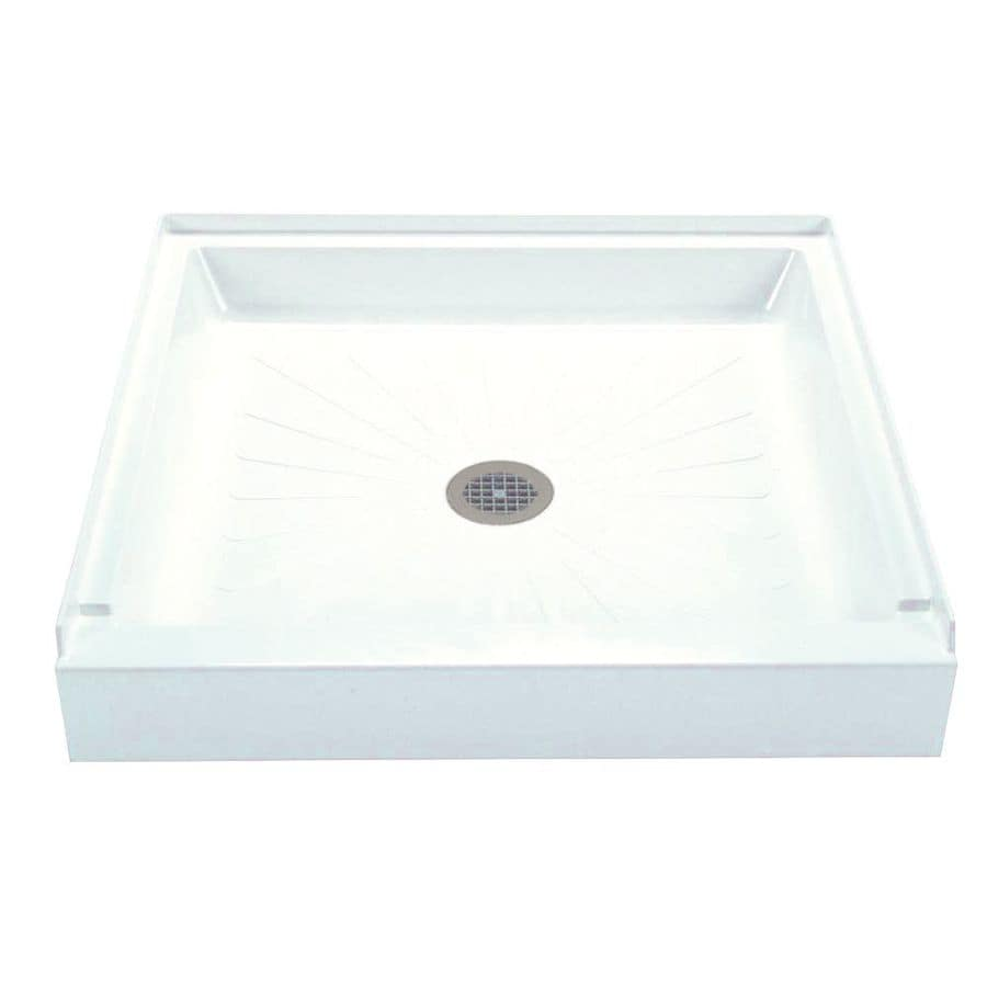 Mustee DURABASE White Fiberglass Shower Base (Common: 32-in W x 32-in L; Actual: 32-in W x 32-in L)
