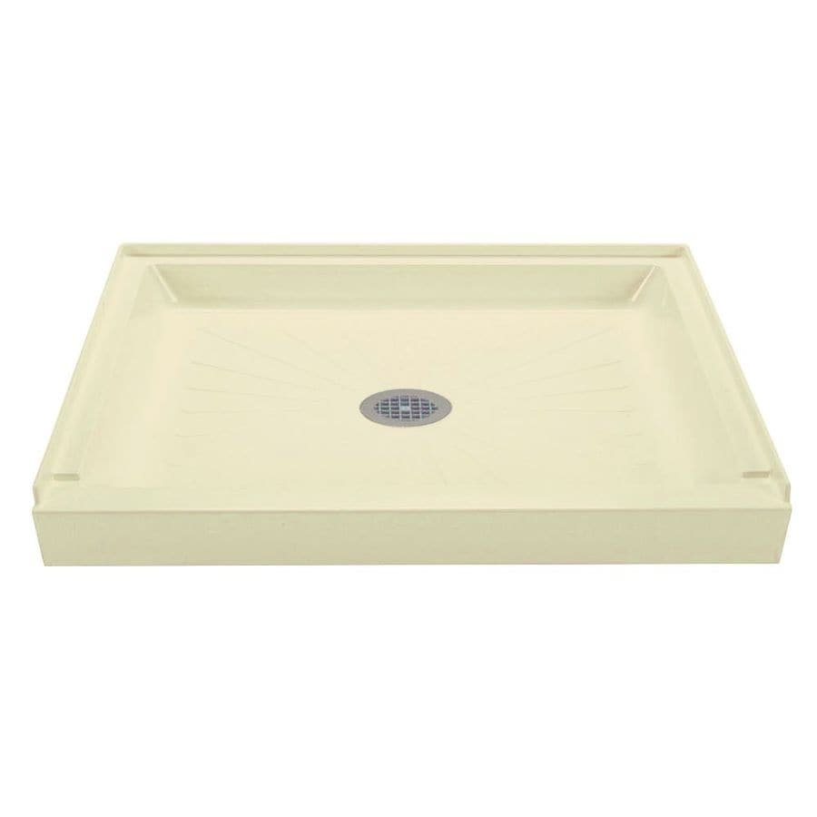 Mustee DURABASE Bone Fiberglass Shower Base (Common: 34-in W x 42-in L; Actual: 34-in W x 42-in L)