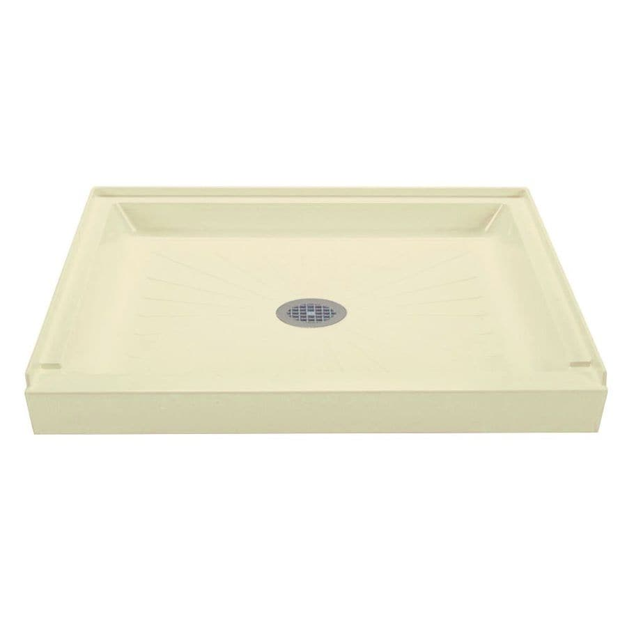 Mustee Durabase Bone Fiberglass Shower Base (Common: 34-in W x 60-in L; Actual: 34-in W x 60-in L) with Center Drain