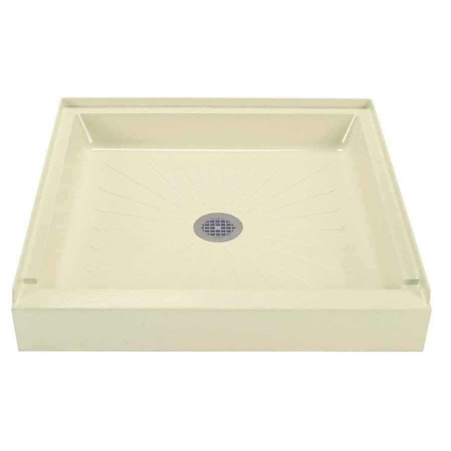 Shop Mustee Durabase Bone Fiberglass Shower Base (Common: 36-in W x ...