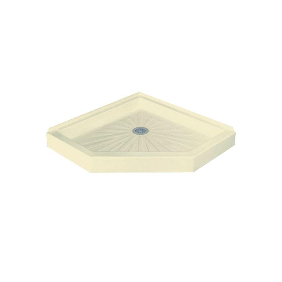 Mustee DURABASE 36-in L x 36-in W Bone Fiberglass Neo-Angle Corner Shower Base