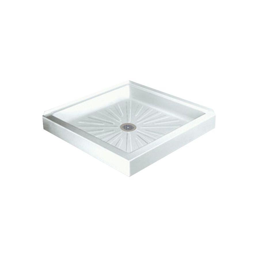 Mustee DURABASE 36-in L x 36-in W White Fiberglass Square Corner Shower Base