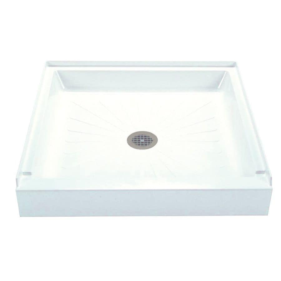 Mustee DURABASE White Fiberglass Shower Base (Common: 36-in W x 36-in L; Actual: 36-in W x 36-in L)