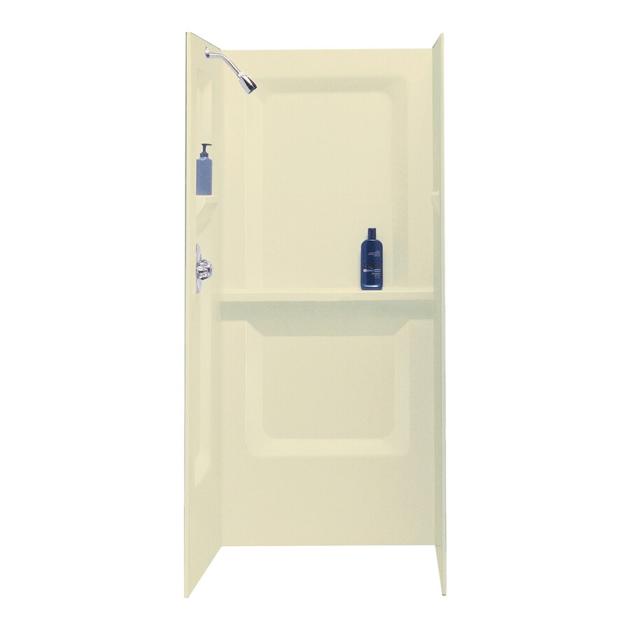 Mustee Durawall Bone Shower Wall Surround Side And Back Wall Kit (Common: 32-in x 32-in; Actual: 73.25-in x 32-in x 32-in)